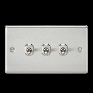 10A 3G 2 Way Toggle Switch - Rounded Brushed Chrome Finish-CLTOG3BC-Knightsbridge