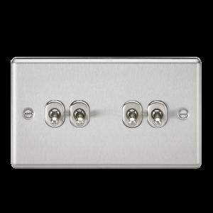 10A 4G 2 Way Toggle Switch - Rounded Brushed Chrome Finish-CLTOG4BC-Knightsbridge