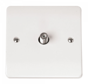 Click Mode 1 Gang Satellite Outlet Scolmore White CMA156 Satellite Outlet Plate