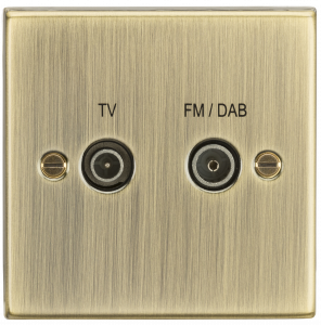 Diplex TV & FM Dab Outlet - Square Edge Antique Brass-CS016AB-Knightsbridge