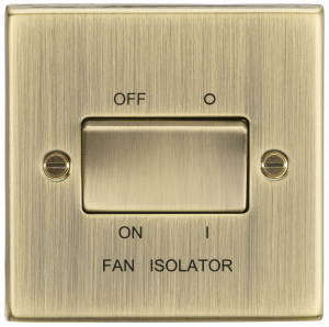 10A 3 Pole Fan Isolator Switch - Square Edge Antique Brass-CS11AB-Knightsbridge