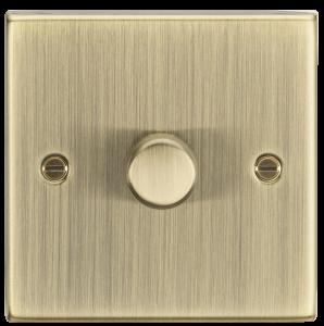 1G 2-way 10-200W (5-150W LED) trailing edge dimmer - Square Edge Antique Brass-CS2181AB-Knightsbridge