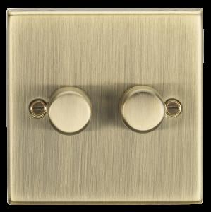 2G 2-way 10-200W (5-150W LED) trailing edge dimmer - Square Edge Antique Brass-CS2182AB-Knightsbridge