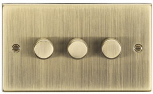 3G 2-way 10-200W (5-150W LED) trailing edge dimmer - Square Edge Antique Brass-CS2183AB-Knightsbridge