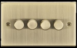 4G 2-way 10-200W (5-150W LED) trailing edge dimmer - Square Edge Antique Brass-CS2184AB-Knightsbridge