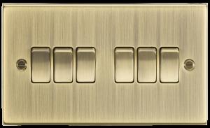 10A 6G 2 Way Plate Switch - Square Edge Antique Brass-CS42AB-Knigthsbridge