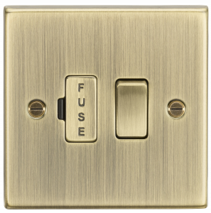 Knightsbridge CS63AB 13A Switched Fused Spur Unit-Square Edge Antique Brass