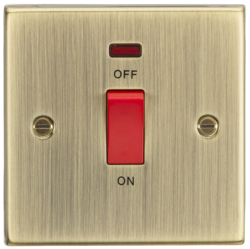 Knightsbridge 45A DP Switch with Neon (single size) - Square Edge Antique Brass