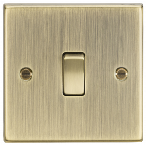 20A 1G DP Switch - Square Edge Antique Brass-CS834AB-Knightsbridge
