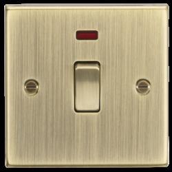 20A 1G DP Switch with Neon - Square Edge Antique Brass-CS834NAB-Knightsbridge