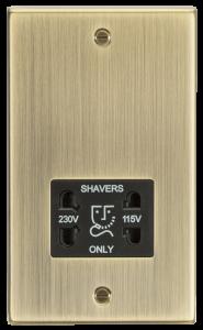 115-230V Dual Voltage Shaver Socket with Black Insert - Square Edge Antique Brass-CS89AB-Knightsbridge