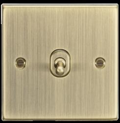 10A 1G Intermediate Toggle Switch - Square Edge Antique Brass-CSTOG12AB-Knightsbridge