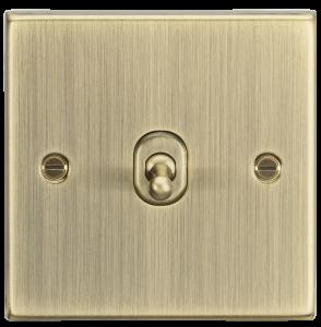 10A 1G 2 Way Toggle Switch - Square Edge Antique Brass-CSTOG1AB-Knightsbridge