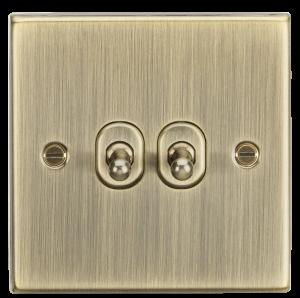 10A 2G 2 Way Toggle Switch - Square Edge Antique Brass-CSTOG2AB-Knightsbridge