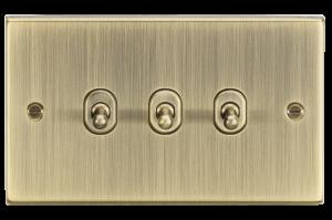 10A 3G 2 Way Toggle Switch - Square Edge Antique Brass-CSTOG3AB-Knightsbridge