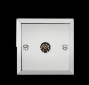 TV Outlet (non-isolated) - Bevelled Edge Polished Chrome-CV010PC-Knightsbridge