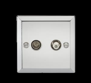 TV & SAT TV Outlet (isolated) - Bevelled Edge Polished Chrome-CV014PC-Knightsbridge