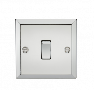 10A 1G 2 Way Plate Switch - Bevelled Edge Polished Chrome-CV2PC-Knightsbridge
