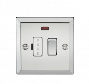 13A Switched Fused Spur Unit with Neon - Bevelled Edge Polished Chrome-CV63NPC-Knightsbridge