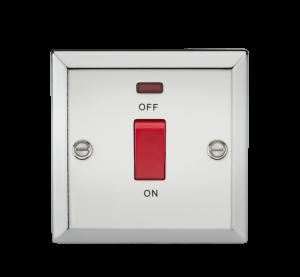 45A DP Switch with Neon (single size) - Bevelled Edge Polished Chrome-CV81NPC-Knightsbridge