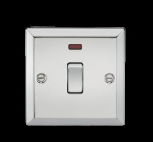 20A 1G DP Switch with Neon - Bevelled Edge Polished Chrome-CV834NPC-Knightsbridge