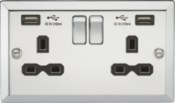 13A 2G Switched Socket Dual USB Charger Slots-Bevelled Edge Polished Chrome-CV92PC-Knightsbridge