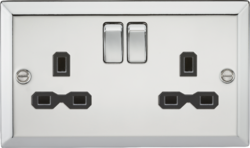 13A 2G DP Switched Socket-Bevelled Edge Polished Chrome-CV9PC-Knightsbridge