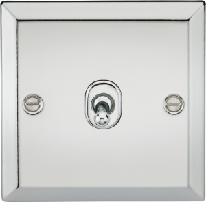 10A 1G 2 Way Toggle Switch - Bevelled Edge Polished Chrome-CVTOG1PC-Knihgtsbridge