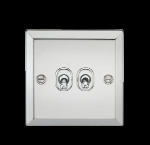10A 2G 2 Way Toggle Switch - Bevelled Edge Polished Chrome-CVTOG2PC-Knightsbridge
