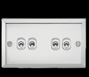 10A 4G 2 Way Toggle Switch - Bevelled Edge Polished Chrome-CVTOG4PC-Knightsbridge