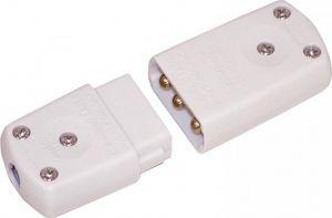 Electric Lead Connector Plug & Socket, 3 Pin White, 10A, 250V AC E301FB