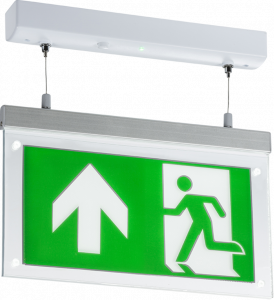 2W LED  DOUBLE SIDED EMERGENCY EXIT SIGN 230V - GREEN