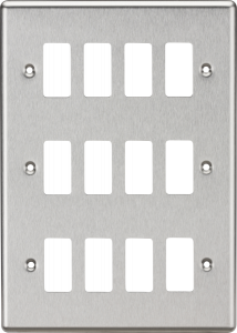12G Grid Faceplate - Rounded Edge Brushed Chrome