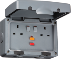 Knightsbridge IPAVRCD IP66 13A RCD 2G Switched Socket