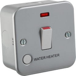 Knightsbridge M8341WH Metal Clad 20A 1G Dp Switch W/Neon & Flex Outlet Water Heater, 230 V, Silver