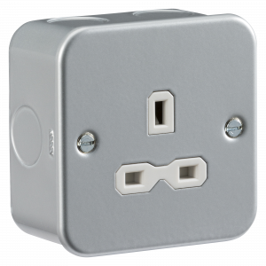 Metal clad 13A 1G Unswitched Socket