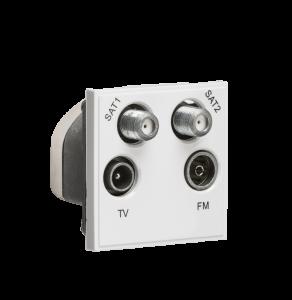 Quadplexed SAT1/SAT2/TV/FM DAB Outlet Module 50 x 50mm-NETQD-Knightsbridge
