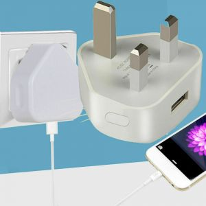USB Wall Charger Plug Socket 3Pin UK Power Adapter AC for iPhone Samsung Huawei