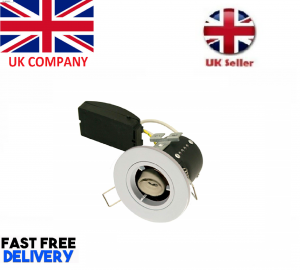 Fire Rated Short Can Downlight GU10 Fixed - White - Diecast - Red arrow