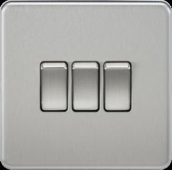 Screwless 10A 3G 2-Way Switch - Brushed Chrome - SF4000 - Knightsbridge