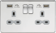Screwless 13A 2G switched socket with dual USB charger (2.1A)-Polished Brass-Grey insert