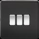 Screwless 10A 3G 2-Way Switch - SF4000 - Knightsbridge-Matt Black