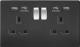 Screwless 13A 2G switched socket with dual USB charger (2.1A)-SFR9902MB-Knightsbridge-Matt Black (Chrome Rocker)-Black insert